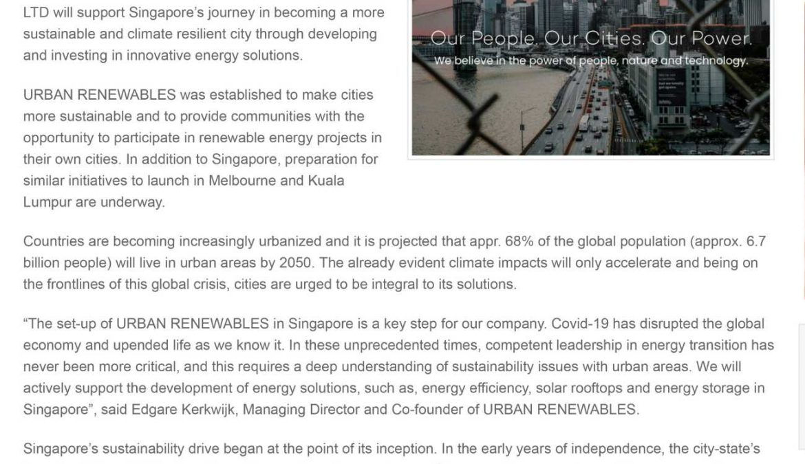 URBAN RENEWABLES launches in Singapore