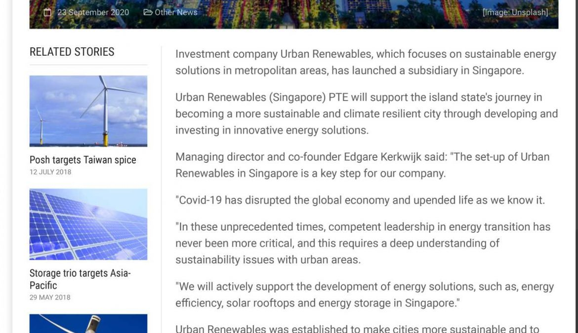 Renewables investor opens new front in Singapore