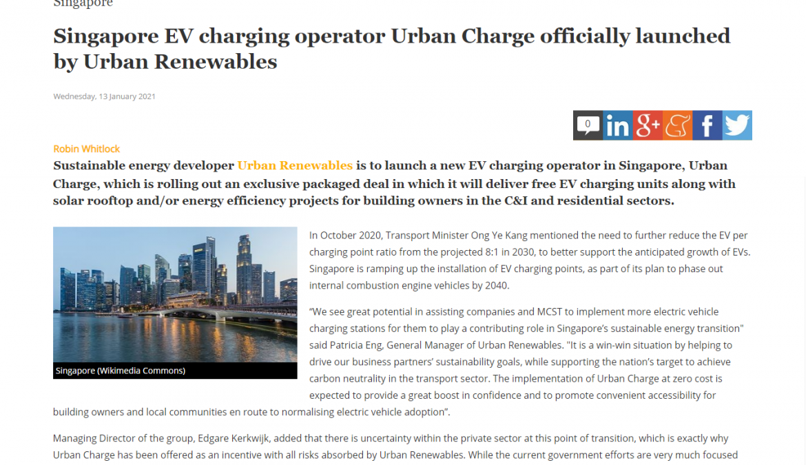 Singapore EV charging operator – launched by Urban Renewables