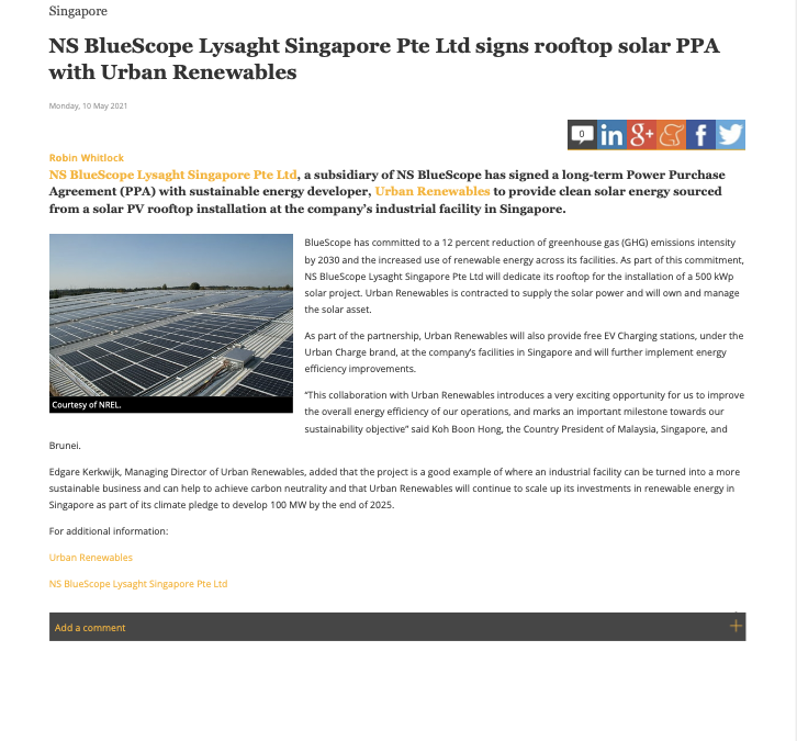 NS BlueScope Lysaght Singapore Pte Ltd signs rooftop solar PPA with Urban Renewables
