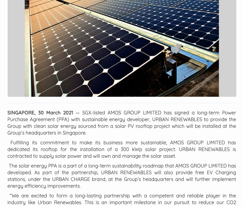 AMOS GROUP LIMITED Signs Rooftop Solar PPA with URBAN RENEWABLES for Group's headquarters in Singapore