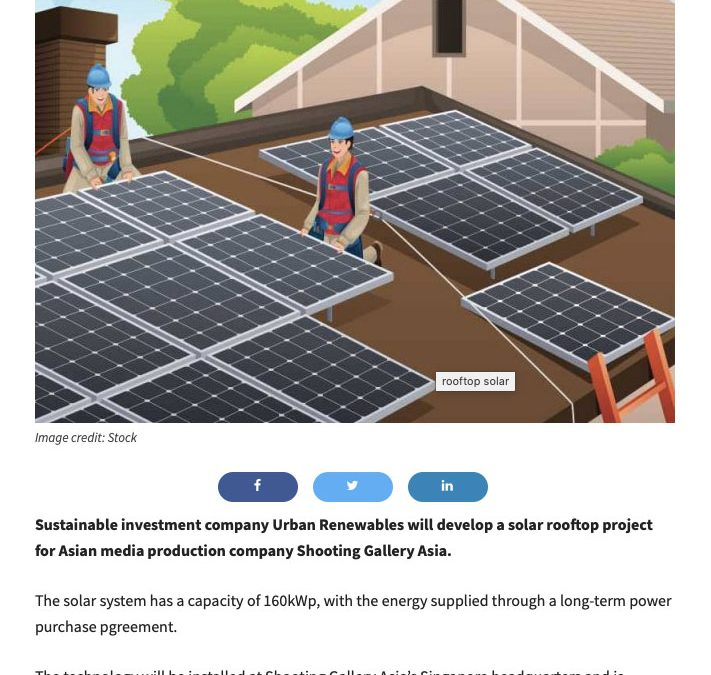 Singapore media company opts for rooftop solar to boost sustainability